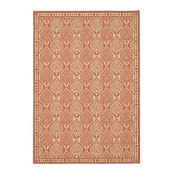 "Safavieh - Indoor/Outdoor Courtyard 7'10""x11' Rectangle Rust - Sand Area Rug - The Courtyard area rug Collection offers an affordable assortment of Indoor/Outdoor stylings. Courtyard features a blend of natural Rust - Sand color. Machine Made of Polypropylene the Courtyard Collection is an intriguing compliment to any decor."