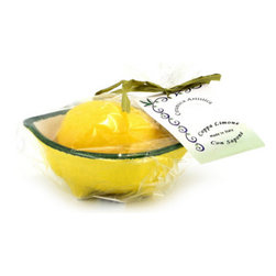 Artistica - Hand Made in Italy - Souvenir Amalfi: Scented Lemon Soap Bar in Lemon Shaped Soap Dish Bowl. - Bring the scent of the Italian Amalfi Coast to your home... Literally!