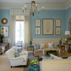 Traditional  Turquoise & Beige Living Room
