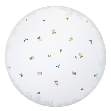 """Huddleson Linens - Lovebirds Linen Tablecloth, 90"""" Round - A charming piece of art for your table. Whimsical white linen tablecloth featuring lovebirds, bamboo cages and a leafy border.  Multicolored birds with painted brushstrokes; pale grey/green border detail of leaves in shadow; white background. Machine washable."""