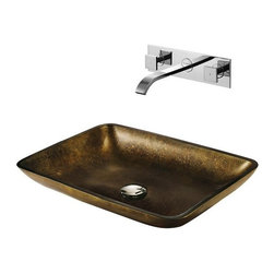 Vigo Industries - Copper Glass Vessel Sink & Faucet Set - Make a bold statement with this uniquely rectangle Copper Vigo glass vessel sink and faucet set. Durability, design and style put this set on another level.