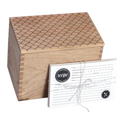 Richwood Creations - Heirloom Recipe Box and Cards - Scallop Pattern Design - We wanted to create the perfect recipe box, with a well thought out and designed recipe card set to accompany it. Collaborating alongside Emily of The Oyster's Pearl, she created double-sided recipe cards in a timeless style to go with our well-crafted recipe box that you would want to proudly gift, or display for yourself. One that would be built to last, and to hand down for generations. With the innovation of the lid to be flipped over and double as a recipe card holder with a slightly angled slot to prop up your favorite recipe for easy reading. Perfect as a wedding, bridal shower, anniversary, or housewarming gift, or a great addition to your own kitchen! Designed and engraved with a scallop pattern, the lid has a lip on the bottom to fit perfectly within the top of the box. This recipe box fits standard 4x6 cards. Finished with a clear, satin coat.