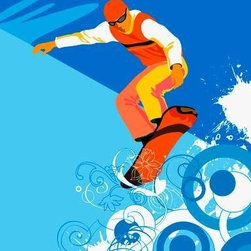 Wallmonkeys Wall Decals - Person Snowboarding Wall Mural - 18 Inches H - Easy to apply - simply peel and stick!