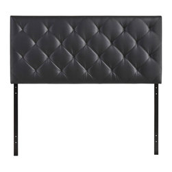 Theodore Queen Vinyl Headboard - The versatility of this element of decor emphasizes its importance. As the headboard functions as the centerpiece of your bedroom, Theodore's deep button tufting makes sure to convey a classic style that can't be dressed down. Fully upholstered in padded faux leather, the Theodore headboard imbues a strong sense of style, while presenting a modern piece full of boxy lines that accessorize with many looks.