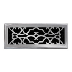 """Brass Elegans 120E PWT Brass Decorative Floor Register Vent Cover - Victorian Sc - This pewter finish solid brass floor register heat vent cover with a victorian scroll design fits 4"""" x 12"""" x 2"""" duct openings and adds the perfect accent to your home decor."""
