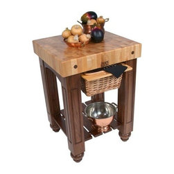 John Boos - Table Block w Maple End Grain Top (48 in.) - Choose Size: 48 in.Includes slatted shelf and wicket basket. Solid walnut base. 4 in. Thick hard maple end grain top. Varnique finish