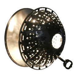 Lightexture - Steamlight Sconce, Designer Edition - Get it while it's hot. This wall sconce — made from a stainless steel steamer — takes steampunk industrial to a new level. It will add beautiful patterns to your wall and let you direct and reflect light as you need it with the adjustable head. It comes with a low-voltage, energy-efficient and long-lasting xenon bulb.