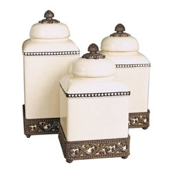 GG Collection - The GG Collection Cream Acanthus Leaf Canisters Set of 3 - The GG Collection is best known for elegant wrought iron home