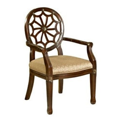"PWL235-620 - Spider Web Medium Mahogany Finish Wood Back Accent Chair - Spider Web Medium mahogany finish wood Back Accent Chair.  The Spider Web Back Accent Chair has a ""medium mahogany"" wood frame and an elegant diamond grain fabric seat. The unique details add interest and elegance. The perfect piece to add instant glamour to any space.   Measures 21-1/2"" x 23-3/4"" x 38-3/4"" tall.  Some assembly required."