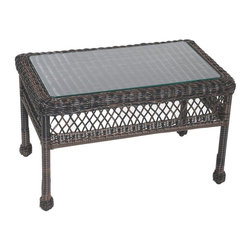 Trade Wind Treasures - Lake Living 18 in. Outdoor Coffee Table - Includes inset tempered glass top. All weather. Welded aluminum frame. Covered in hand woven UV protected extruded vinyl. Top: 26 in. L x 14 in. W. Table: 30 in. L x 18 in. W x 18 in. H. Warranty