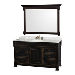 """Wyndham Collection - Andover 60"""" Antique Black SGL Vanity, Carrera Marble Top, UM Rd Sink, 56"""" Mrr - A new edition to the Wyndham Collection, the beautiful Andover bathroom vanity series represents an updated take on traditional styling. The Andover is a keystone piece, with strong, classic lines and an attention to detail. The vanity and solid marble countertop are hand carved and stained. Available in Black, White and Dark Cherry finishes to match any decor. Available in a range of single or double vanity sizes to fit any bathroom."""
