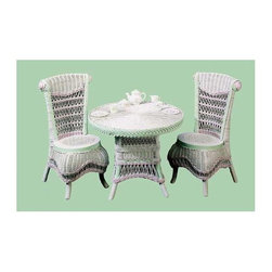 Spice Island Wicker - 3-Pc Round Child Tea Set (White/Off-White) - Includes table and two chairs. Victorian style. Made from wicker. Green and pink color. Chair: 15 in. W x 15 in. D x 25 in. H. Table: 23 in. Dia. x 18 in. H (30 lbs.)