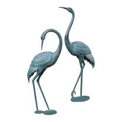 """SPI - Medium Garden Crane Pair - -Size: 46.5"""" H x 38""""H"""