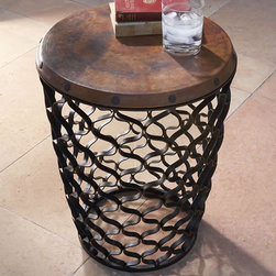 """Arabesque Table - Shipping included in price! Arabesque Table with Antique Copper Top. Finish: Black powder coated iron with antique copper sheet top. Dimensions: 17""""dia x 21.75""""h"""