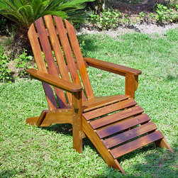International Caravan - International Caravan Adirondack Chair with Attached Footrest - This assembled wooden Adirondack chair is the perfect indoor or outdoor lounge chair. Its extra-high back and attached footrest ensures your comfort during use. It is made of solid Acacia wood,so you can expect to enjoy it for many years.