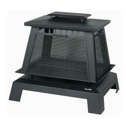 Char-Broil - Trentino Deluxe Fireplace Black - The weather is cooling but that's no reason to stay indoors. Bundle everyone up and enjoy a night out under the stars with this portable, black metal fireplace. The removable screen doors provide easy access for adding logs and allow you to see the crackling fire from all sides.
