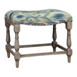 Matthew Williams - Matthew Williams Minkah Small Bench X-72632 - Brushed ikat pattern in shades of indigo, aqua and fern on a solid hardwood carved base in a weathered driftwood finish.