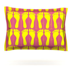 "Kess InHouse - Sreetama Ray ""Footprints Yellow"" Pink Illustration Pillow Sham (Cotton, 30"" x 20 - Pairing your already chic duvet cover with playful pillow shams is the perfect way to tie your bedroom together. There are endless possibilities to feed your artistic palette with these imaginative pillow shams. It will looks so elegant you won't want ruin the masterpiece you have created when you go to bed. Not only are these pillow shams nice to look at they are also made from a high quality cotton blend. They are so soft that they will elevate your sleep up to level that is beyond Cloud 9. We always print our goods with the highest quality printing process in order to maintain the integrity of the art that you are adeptly displaying. This means that you won't have to worry about your art fading or your sham loosing it's freshness."