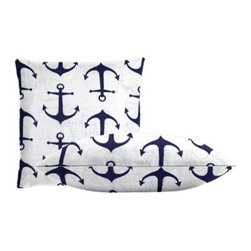 """Cushion Source - Navy Anchors Throw Pillow Set - The Navy Anchors Throw Pillow Set features two 18"""" x 18"""" cotton duck throw pillows in white with a navy blue anchor print that provides an updated nautical motif."""