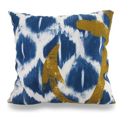 Manual - Blue and White Nautical Ikat Throw Pillow w/Anchor Detail 18 in. - Beautifully accent your home inside or out in in awesome nautical style with this striking blue and white ikat dyed throw pillow that's perfect for your living room sofa, the Adirondack chair on the patio or the chaise lounge in your garden oasis. The 100% polyester cover is water repellent and it's filled with 100% polyester fiber. Measuring 18 inches high by 18 inches long (46 cm by 46 cm), it would look amazing by a pool area, in your cottage or just tossed on the bed, and features a bold ship's anchor on both sides. It is recommended to dry clean or spot clean only. This bright and cheerful throw pillow would make an excellent housewarming gift for any nautical fans