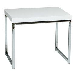 Office Star - Office Star Avenue Six Wall Street End Table in Chrome / White - Wall street end table in chrome/white