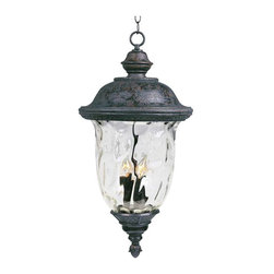 Maxim Lighting - Maxim Carriage House VX 3-Light Outdoor Hanging Lantern Bronze - 40427WGOB - Maxim Lighting's Carriage House VX Collection is made with Vivex, a material twice the strength of resin, is non-corrosive, UV resistant and backed with a 3-Year Limited Warranty. Carriage House VX features our Oriental Bronze finish and Water Glass.