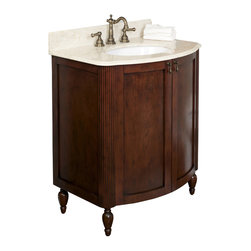 American Imaginations - 32-in. W x 22-in. D Traditional Birch Wood-Veneer Vanity Set - This traditional vanity set belongs to the exquisite Milano design series. It features a rectangle shape. This vanity set is designed to be installed as an floor mount vanity set. It is constructed with birch wood-veneer. It is designed for a 8-in. o.c. faucet. This vanity set comes with a lacquer-stain finish in Antique Cherry color. A large cabinet with two european style hinge doors This Vanity Set features Chrome hardware. Includes pre-glued biscuit oval undermount sink professionally installed at no charge
