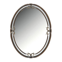 Quoizel - Duchess Beveled Mirror by Quoizel - The fairest mirror of them all. With its gentle curves of hand-forged iron, the Quoizel Duchess Beveled Mirror frames a visage with classic European elegance. Finished in warm, aged Palladian Bronze for a truly rich Old World effect. Available in two sizes, both of which can be hung vertically or horizontally.For more than 80 years, Quoizel (based in Charleston, SC) has dedicated itself to bringing timeless lighting designs into modern homes. By consciously avoiding design fads, consistently balancing form and function and using only the highest quality materials, Quoizel lighting designs do indeed stand the test of time.The Quoizel Duchess Beveled Mirror is available with the following:Details:Oval beveled mirrorHand-forged iron and steel framePalladian Bronze finishCan be hung vertically or horizontallyOptions:Size: Large, or Small.Shipping:This item usually ships within 5-7 business days.