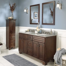 Foremost Hawthorne 60 in. Dark Walnut Double Bathroom Vanity with Mirrors - The Foremost Hawthorne 60 in. Dark Walnut Double Bathroom Vanity with Mirrors has a wide elegant frame that makes an ideal traditional-style his-and-her unit. Featuring a engineered wood this handsome free-standing unit features 2 double-door storage cabinets with 2 full-extension drawers between them. Antique brass hardware accents the unit complementing the dark walnut finish beautifully. Countertop and faucet not included. The set has matching 2 beveled mirrors a wall cabinet and a floor cabinet which are optional; each piece features matching dark walnut finishes and antique brass finished hardware. About Foremost Groups Inc.Established in 1988 based on simple strategies and principles Foremost remains dedicated to their mission of providing fashionable innovative designs and knowledgeable friendly customer service to their customers on a daily basis. Throughout the years Foremost has developed offices and distribution centers in the U.S. and Canada with four separate product divisions consisting of bathroom furniture indoor and outdoor furniture and even food service equipment. All of their products are proudly constructed with world class engineering and the best designs at an affordable price.