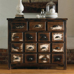 Hooker Furniture - 42 in. Drawer Chest - Six drawers. Made from hardwood solids and birch veneers. Top drawers: 10.25 in. W x 15.13 in. D x 5.13 in. H. Bottom drawers: 35.13 in. W x 15.13 in. D x 4.5 in. H. Overall: 42 in. W x 18 in. D x 35.5 in. H