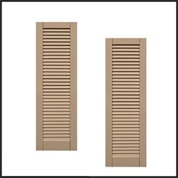 Single Panel Louvered Composite Shutters - Our Faux Louver shutters use a unique patented process that delivers a beautiful louvered appearance. These shutters add a classic, traditional look with rhythmic, clean lines. Enhancing a variety of home styles, Faux Louver shutters offer the look of traditional Colonial shutters, but can be even more accurately described as a louver board shutter. Additional options available include: additional rail and arch or radius top. Along with the Primed Finish option, we can color match for a $450.00 flat fee.