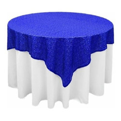 Chambury Casa - Sequined Table Overlay, Royal Blue, 70x70 - Square sequin table overlays will beautifully dress up your not-so-beautiful table right away!