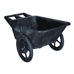 RUBBERMAID COMMERCIAL PRODUCTS - 7.5 Cubic Feet Big Wheel Carts Black - Designed for heavy-duty, long-lasting use. Sturdy, structural foam construction won't rust, dent, chip or peel. All-plastic, seamless pan design resists leaking and cracking.