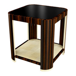 Furniture Design Link (design and photo real rendering) - Art Deco Inspired Side Table - This Photo Real rendering was designed and created by FDL  the materials are macassar ebony veneer, ivory shagreen and a inset black glass top. This table can be custom ordered through the Jonathan Franc showroom.  Rendering used with consent