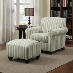 PORTFOLIO - Portfolio Mira Summer Aqua Blue Stripe Arm Chair and Ottoman - The Portfolio Mira arm chair and ottoman features a transitional design with rounded arms. The Mira chair and ottoman are covered in an aqua blue and cream stripe fabric.