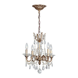 Crystorama - Crystorama 2224-RB-CL-MWP Chandelier - Bronze, gold and solid brass are back in fashion. The Delancey collection embraces this trend, combining our sumptuous Roman bronze finish with handcrafted arms, clear cut crystal swags and curvy pendants.