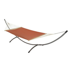 Phat Tommy - Sunbrella Hammock in Papaya - The Phat Tommy Sunbrella Dupione Hammock is part of Outdoor Oasis Line and is our most durable and beautiful outdoor hammock. For your outdoor room or by the pool, Phat Tommy Sunbrella products give you the sophisticated style you want with the protection you need. Sunbrella's tough, long-lasting fabrics handle the worst Mother Nature can give, year after year. From the baking sun to endless rain, Phat Tommy Outdoor Oasis products look great in any season.
