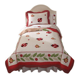 Pem America - Lady Bug Yard Twin Quilt with Pillow Sham - Lady Bug Yard is a bright collection of red, white, and black lady bugs on a bed of white. The frame of the quilt has an applique leaf design in green with a scalloped outer frame in red.  The quilt and pillow shams face is pieced 100% cotton material and the pattern is fully accessorized.  This is the perfect bedding for that little girl that loves ladybugs! Hand crafted quilt set includes 1 twin quilt (68x86 inches) and 1 standard sham (20x26 inches). Face cloth and fill are 100% natural cotton.  Prewashed for out of the bag comfort. Hand crafted with embroidery. Machine Washable.