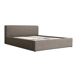 Diamond Sofa - Euro Grey Textured Fabric Bed, California King - This low profile bed has fabric upholstered headboard, side rails and footboard to add a chic vibe to your space. No box spring or foundation required.
