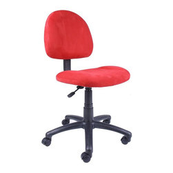 BOSS Chair - Computer Chair In Microfiber w Lumbar Support - Sporting vibrant red upholstery and built for dependable performance, this office chair is hard to pass by. The unit has plenty of features, including thick padded seat and back, adjustable controls, pneumatic height adjustment and 5 hooded casters for go-anywhere mobility. Thick padded seat and back with built-in lumbar support. Waterfall seat reduces stress to your legs. Back height and depth are fully adjustable. Pneumatic seat height adjustment. 5 star nylon base allows smooth movement and stability. Hooded double wheel casters. Comes in durable easy to clean microfiber. Cushion color: Red. Base/wood: Black. Seat size: 17.5 in. W x 16.5 in. D. Seat height: 18.5 in. -23.5 in. H. Overall dimension: 17.5 in. W x 25 in. D x 35-40 in. H. Weight capacity: 250 lbs