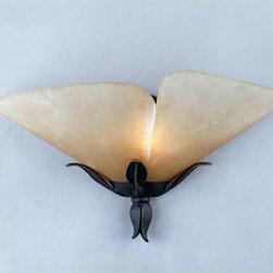 Quoizel Lighting - Quoizel YU8710IB Yuma 1 Light Wall Sconce, Imperial Bronze - Long Description: Beautiful wrought iron formed into delicate leaves adds a touch of whimsy to this casual look. The elegant shades are evocative of a calla lily, adding a soft, romantic edge to the bold silhouette.