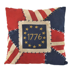 Vintage-Look 1776 American Flag Patchwork Throw Pillow - Add a touch of 18th Century Boston to your contemporary home decor with this decorative throw pillow. It features an antiqued patchwork design of red, white and blue solids and stripes, with blue embroidery stitching that makes the pillow look hand sewn. The center has a ring of antiqued white stars with '1776' in the center. The pillow measures 16 inches tall, 16 inches wide. The exterior is 100% cotton, the inner stuffing is polyester. This pillow looks great on beds, chairs, and couches anywhere in your home.