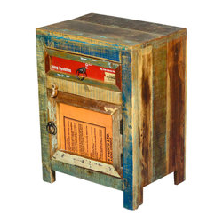 Sierra Living Concepts - Rustic Reclaimed Wood Night Stand End Table with Drawer - This mini cabinet is filled with rustic charm and an authentic history that only reclaimed wood can deliver. Both the drawer and the door front have original box labels. The multi-colored sides and top feature the natural surface treatments found on old wood. The bed side table stands on short square legs.