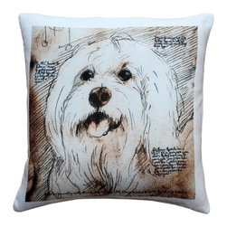 Pillow Decor - Leonardo's Dogs Mischievous Maltese Dog Pillow - Created in the style of a Leonardo da Vinci sketch, this image of a mischievous Maltese is applied to a wonderfully soft and natural feeling indoor/outdoor poly-linen fabric. The Mischievous Maltese Dog Throw Pillow makes a great gift for anyone who owns and loves this breed. Or incorporate this pillow into your own home to celebrate the unconditional affection that your dog shares with you. A Leonardo's Dogs original.