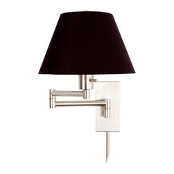 Monroe II Black Shade Plug-in Swing-arm Wall Light - Lighting is always important, and these gorgeous wall scones are fab for living room reading.