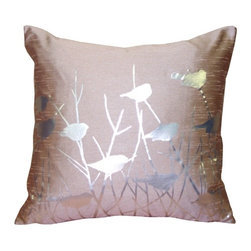 Pillow Decor - Pillow Decor - Metallic Birds Faded Rose Throw Pillow - Metallic silver birds perch among the branches on this stunning screen printed pillow. The background color is dusty mauve and the fabric is a textured poly-silk, combining the appearance and feel of dupioni silk with the practicality and durability of polyester. An elegant decorative pillow that will give you something to twitter about.