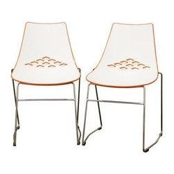 Wholesale Interiors - Baxton Studio Jupiter White and Orange Plastic Modern Dini - Modern dining chair