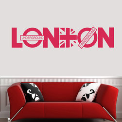 ColorfulHall Co., LTD - London City United Kindom Map Union Jack London Underground Wall Decal, Rose Red - London City United Kindom Map Union Jack London Underground Wall Decal