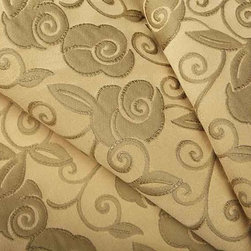 Pocketful of Posies Upholstery Fabric in Golden Dawn - Pocketful of Posies Upholstery Fabric in Golden Dawn is a heavy duty cotton blend with a feminine floral woven pattern in a neutral golden hue. Perfect for high traffic areas this pretty fabric is extremely high quality with a delicate sheen. Made in Switzerland with 85% cotton, 12% polyester, and 3% polyamide. Passes CB117E and 50,000 Wyzenbeek. Cleaning Code S – Solvent-based cleaning agents only (water-free, dry cleaning). Width: 59″ Repeat: 2″W X 15″ H