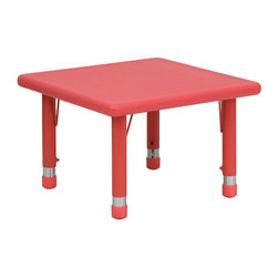 "Flash Furniture - 24"" Square Height Adjustable Red Plastic Activity Table - Kids activity tables are excellent for early childhood development. The primary colors make learning and play time exciting when several colors are arranged in the classroom. This durable table features a plastic top with steel welding underneath along with adjustable steel legs that is sure to last throughout the years."